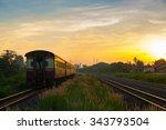 train running over rural... | Shutterstock . vector #343793504