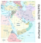 map of middle east and... | Shutterstock .eps vector #343796990