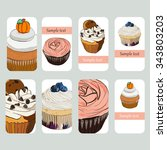 visit cards with cupcake in... | Shutterstock .eps vector #343803203