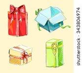illustration  set gift boxes   Shutterstock .eps vector #343806974