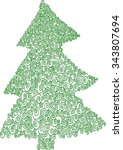 christmas tree made of green... | Shutterstock .eps vector #343807694