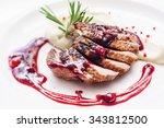 duck breast with sauce | Shutterstock . vector #343812500
