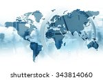 time for global business. map... | Shutterstock . vector #343814060