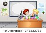 children working on lab... | Shutterstock .eps vector #343833788