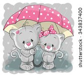 Two Cute Cartoon Kittens With...