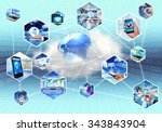concept picture of internet and ... | Shutterstock . vector #343843904