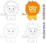 Cartoon Lion. Dot To Dot...