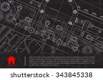vector technical blueprint of... | Shutterstock .eps vector #343845338