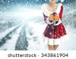 winter blurred background and... | Shutterstock . vector #343861904