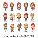 set of cartoon character in... | Shutterstock .eps vector #343871834