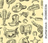 wild west seamless pattern with ... | Shutterstock .eps vector #343880336