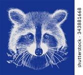 cute raccoon vector requests... | Shutterstock .eps vector #343881668