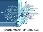 circuit boards face blue | Shutterstock .eps vector #343882463