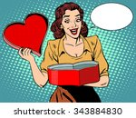 romantic gift love heart female ... | Shutterstock .eps vector #343884830