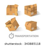 flat boxes icons set. eps10 | Shutterstock .eps vector #343885118