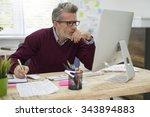 pensive man working hard on... | Shutterstock . vector #343894883