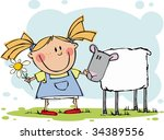 funny girl with flower and sheep | Shutterstock .eps vector #34389556