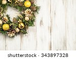 christmas wreath with baubles... | Shutterstock . vector #343897328
