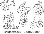 calligraphic elements curves... | Shutterstock .eps vector #343898180