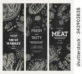 meat market chalkboard banner...   Shutterstock .eps vector #343903838