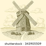 mill. hand drawn engraving.... | Shutterstock .eps vector #343905509