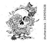 skull and flowers butterflies... | Shutterstock .eps vector #343905638