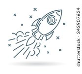 conceptual rocket flying icon.... | Shutterstock .eps vector #343907624