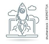 conceptual rocket launch icon.... | Shutterstock .eps vector #343907714