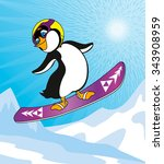 penguin snowboarding in the... | Shutterstock .eps vector #343908959