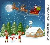 merry christmas card.... | Shutterstock .eps vector #343909010