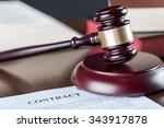 judge gavel with contract | Shutterstock . vector #343917878
