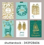 collection of 6 christmas card... | Shutterstock .eps vector #343928606