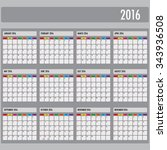 calendar years 2016   weeks... | Shutterstock .eps vector #343936508