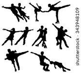 ice skate dance silhouettes  ... | Shutterstock .eps vector #343948109