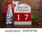 17 days till christmas vintage...   Shutterstock . vector #343954700