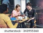 people talking digital tablet... | Shutterstock . vector #343955360