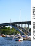 Stockholm marine (bridge in the background) - stock photo