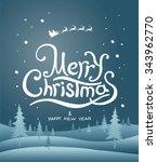 merry christmas lettering.... | Shutterstock .eps vector #343962770