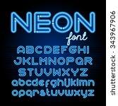 neon light alphabet vector font.... | Shutterstock .eps vector #343967906