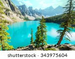 beautiful moraine lake in banff ... | Shutterstock . vector #343975604