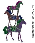 three patterned horses perform... | Shutterstock .eps vector #34397974