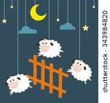 sheep and fence hanging on the... | Shutterstock .eps vector #343984820