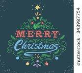 merry christmas retro poster... | Shutterstock . vector #343987754