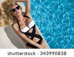 beautiful blond hair sexy woman ... | Shutterstock . vector #343990838