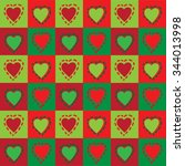 green and red hearts... | Shutterstock .eps vector #344013998