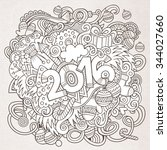 2016 year hand lettering and... | Shutterstock .eps vector #344027660