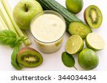 green smoothie with different... | Shutterstock . vector #344034434