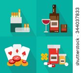 addiction icon flat set  drinks ... | Shutterstock .eps vector #344037833