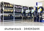 blur image of shop and tire... | Shutterstock . vector #344043644