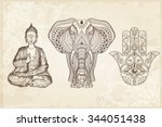 Indian Hand Drawn Hamsa With...